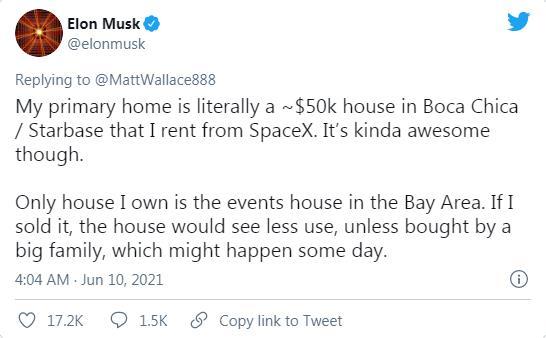 马斯克:两处房产挂牌出售 正租房住