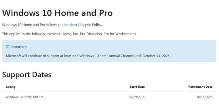 微软宣布2025年10月终止支持Win10
